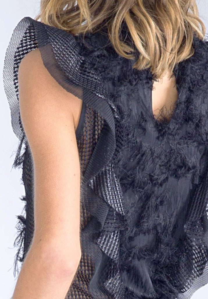 YARA Black Fuzzy Blouse