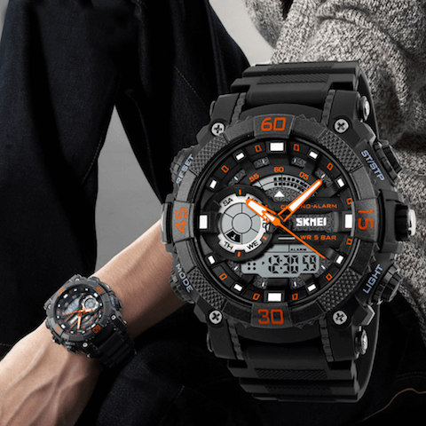 men's rugged digital and analog sports watch multiple colors