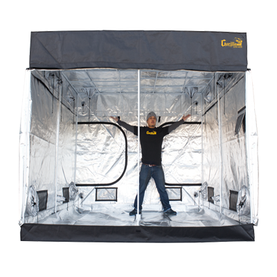 Gorilla grow tent main image with guy inside tent