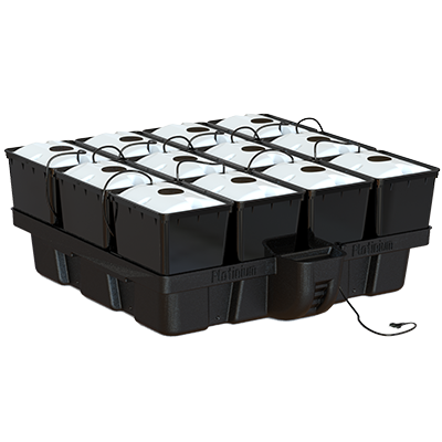 aero pro 12 showing 12 bato buckets with aeroponic caps and misters