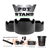 pot stand with logo and assembly instructions