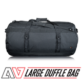 avert large duffle bag with logo and text