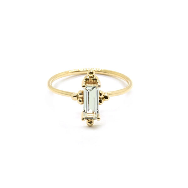 Natalie Marie Alya Stone Ring with Green Amethyst, Gold