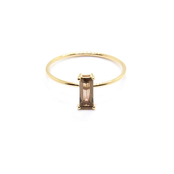 Natalie Marie Baguette Ring Smokey Quartz, Gold