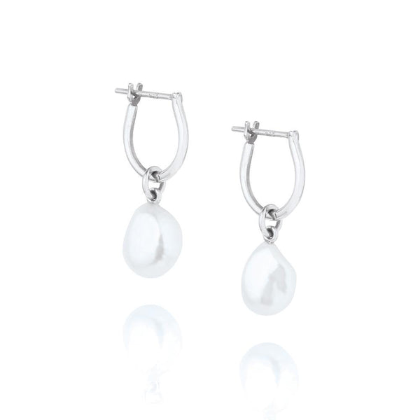 Linda Tahija Baroque Pearl Basic Hoop Earrings Silver