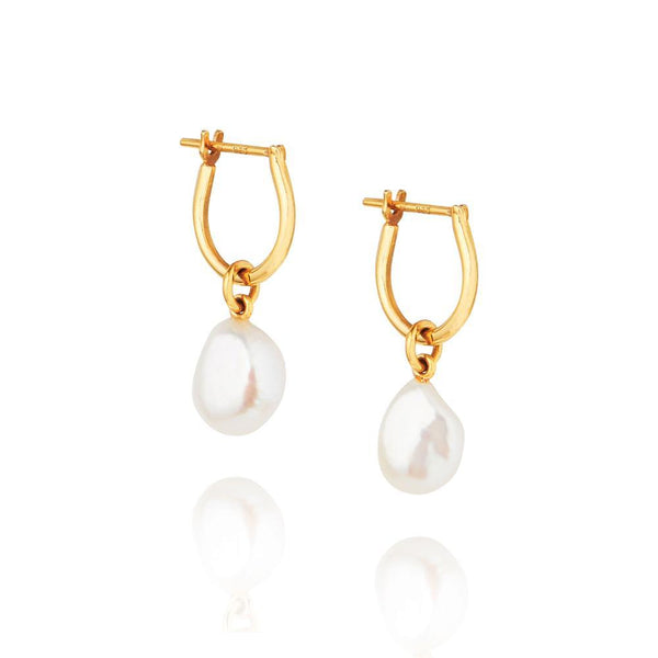 Linda Tahija Baroque Pearl Basic Hoop Earrings Gold