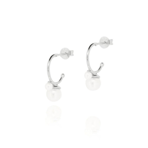 Linda Tahija Cleo Double Pearl Hoop Earrings, Silver