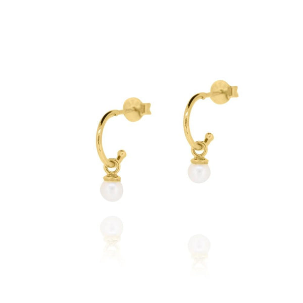 Linda Tahija Cleo Pearl Hoop Earrings, Yellow Gold