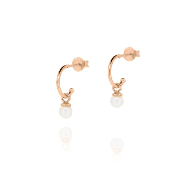 Linda Tahija Cleo Pearl Hoop Earrings, Rose Gold