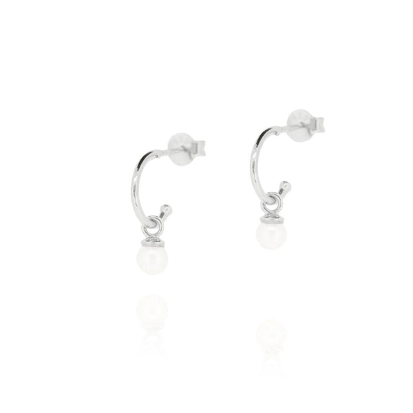 Linda Tahija Cleo Pearl Hoop Earrings, Silver