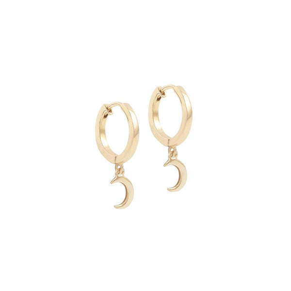 By Charlotte 14k gold Over The Moon single hoop earring