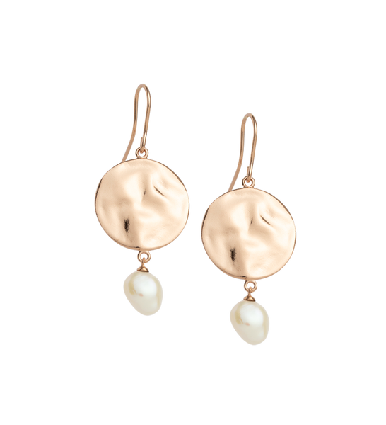 Kirstin Ash Rose Gold Tidal Pearl Earrings
