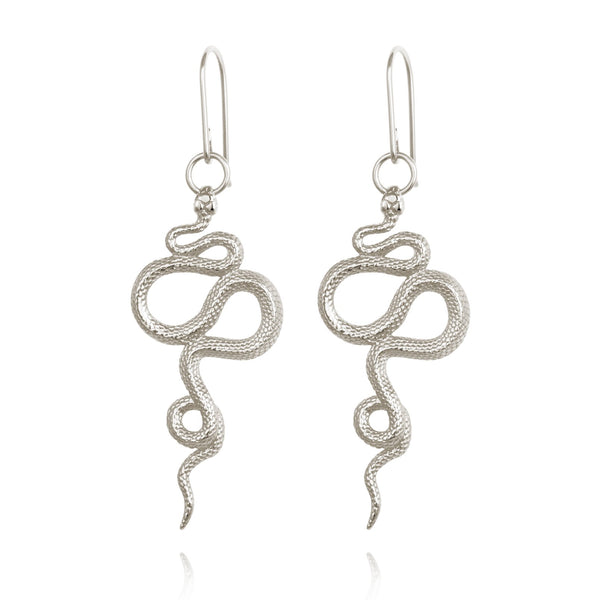 Temple of the Sun Snake Earrings, silver