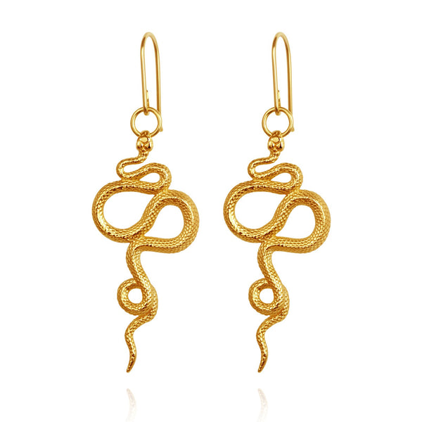 Temple of the Sun Snake Earrings, gold