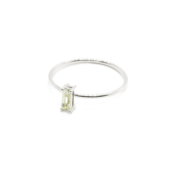 Natalie Marie Tiny Baguette Ring Green Amethyst, Silver
