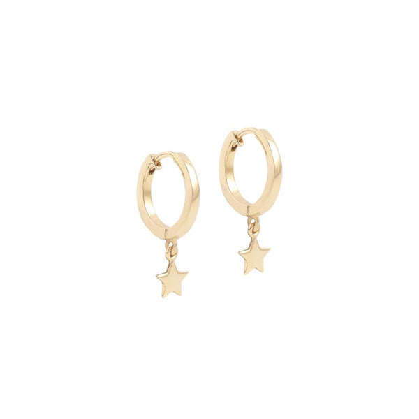 By Charlotte 14k gold Wish Upon a Star single hoop earring