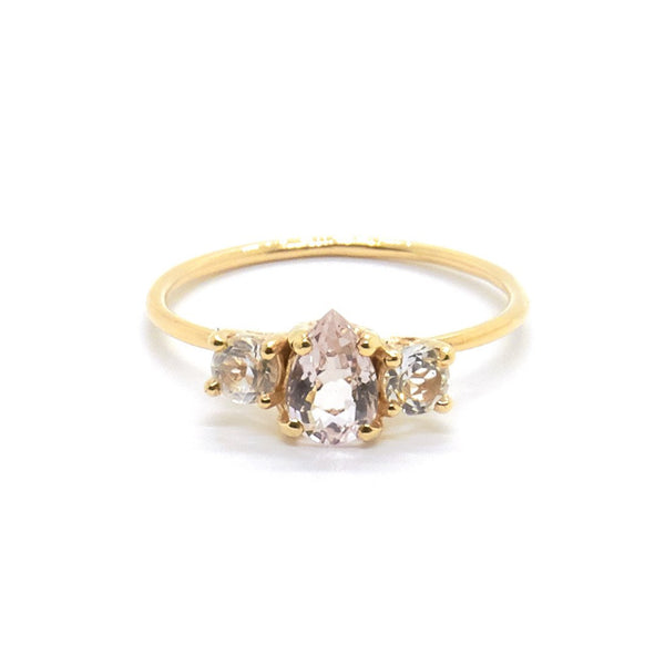 Natalie Marie Pear Trio ring, Morganite, gold