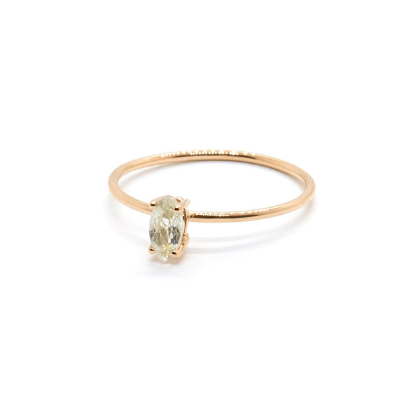 Natalie Marie Tiny Marquise Ring, Rutilated Quartz, rose gold
