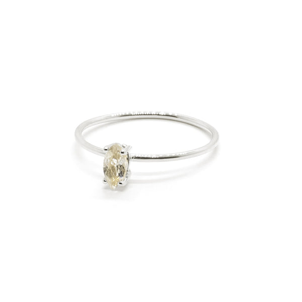 Natalie Marie Tiny Marquise Ring, Rutilated Quartz, silver