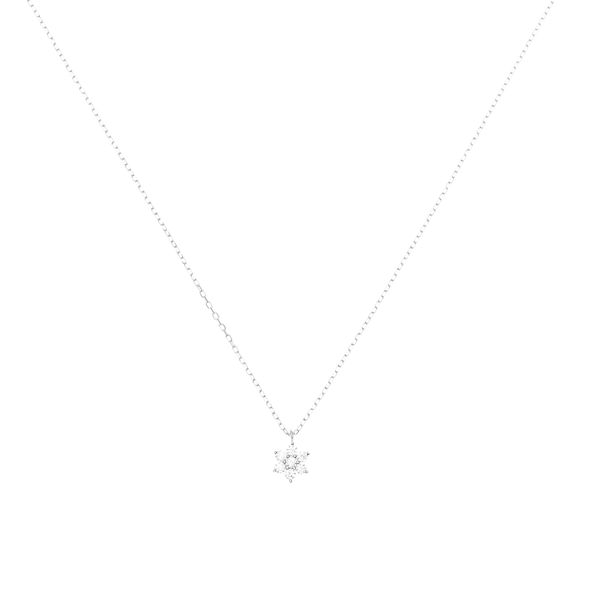 By Charlotte 14k White Gold Crystal Lotus Flower Necklace