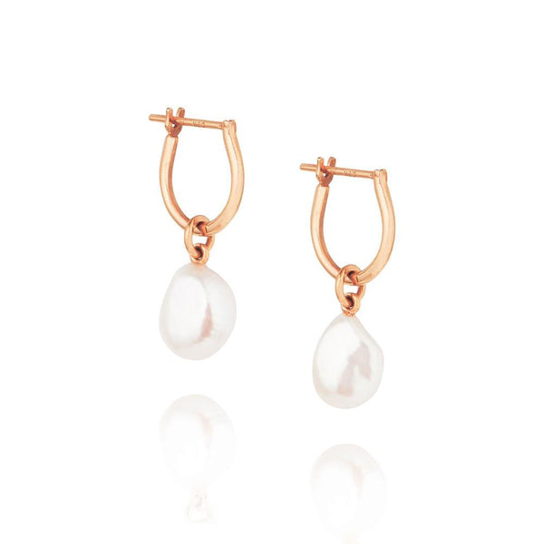 Linda Tahija Baroque Pearl Basic Hoop Earrings, Rose Gold