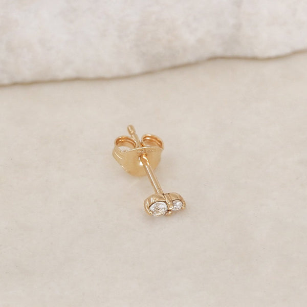 By Charlotte 14k Gold April Topaz Birthstone Single Stud Earring