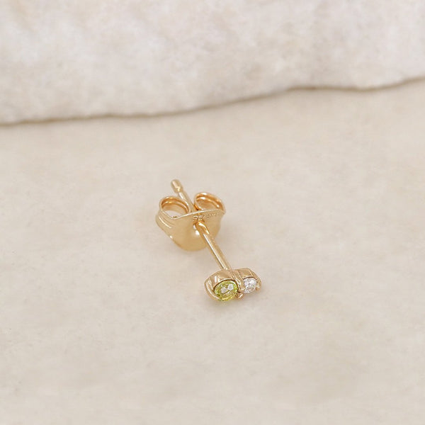 By Charlotte 14k Gold August Peridot Birthstone Single Stud Earring