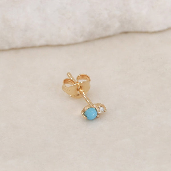 By Charlotte 14k Gold December Turquoise Birthstone Single Stud Earring