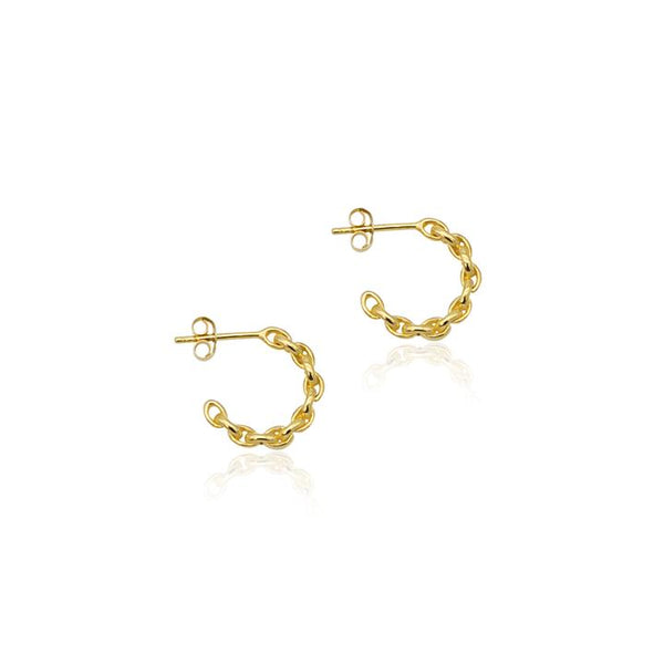 Linda Tahija Chain Hoop Earrings, Gold