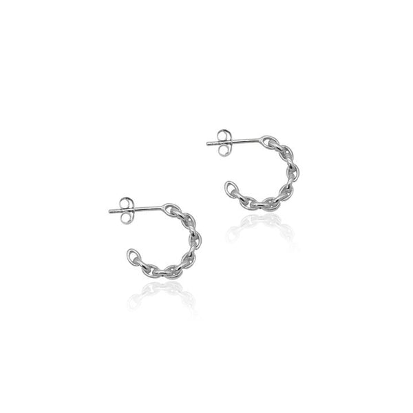 Linda Tahija Chain Hoop Earrings, Silver