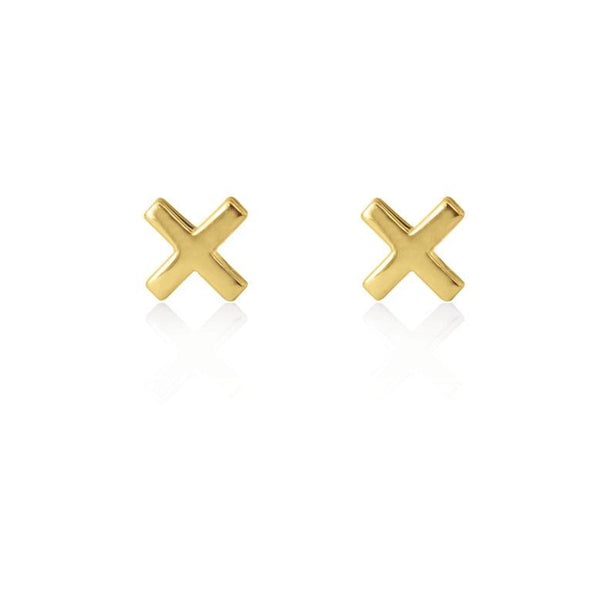 Linda Tahija Cross Stud Earrings, Gold