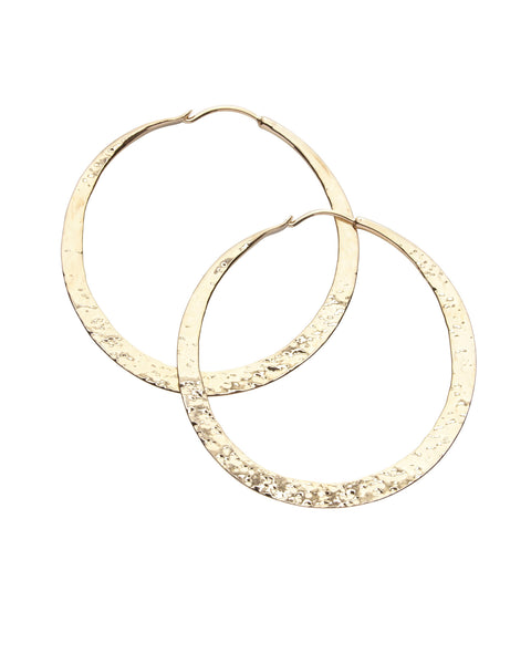 Kerry Rocks Forged Hoop Earrings, Silver, Gold or Rose Gold