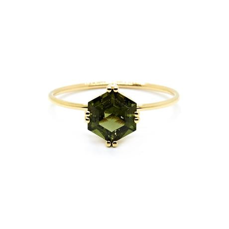 Natalie Marie Hexagon Ring, Moldavite, gold