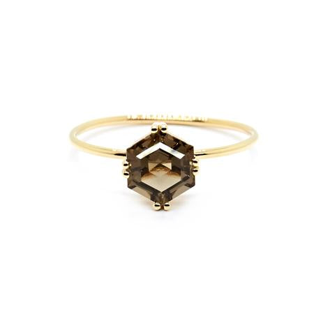 Natalie Marie Hexagon Ring, Smokey Quartz, gold