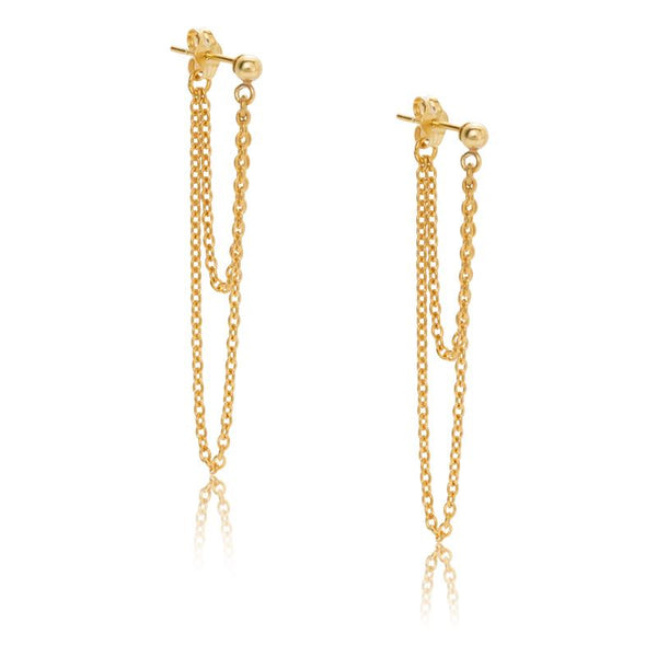Kerry Rocks Chain Duo Stud Earrings, Gold