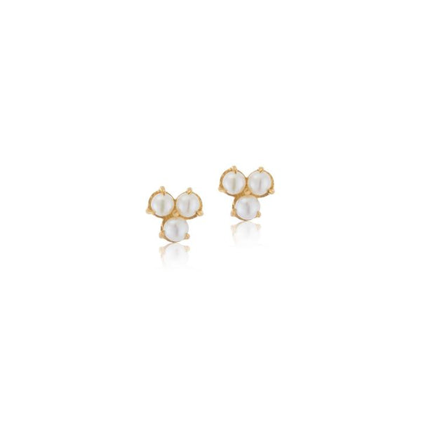 Kerry Rocks Cluster Stud Pearl Earrings, Gold