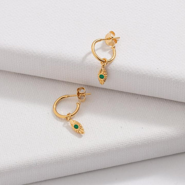 Kerry Rocks Evil Eye Hoops, Green Onyx, Gold