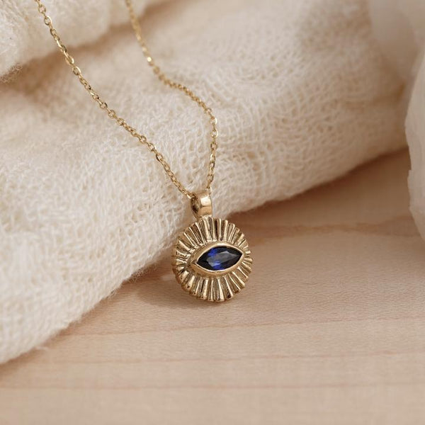 Kerry Rocks Evil Eye Amulet Necklace, Sapphire, Gold