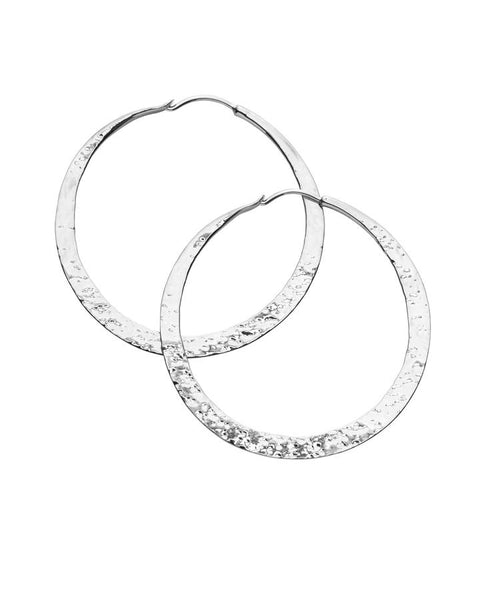Kerry Rocks Forged Hoop Earrings, Large, Silver