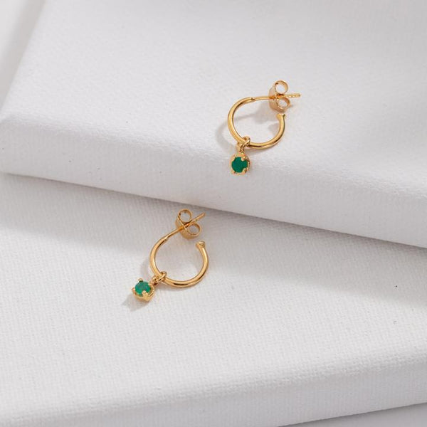 Kerry Rocks Winkie Hoops, Green Onyx, Gold