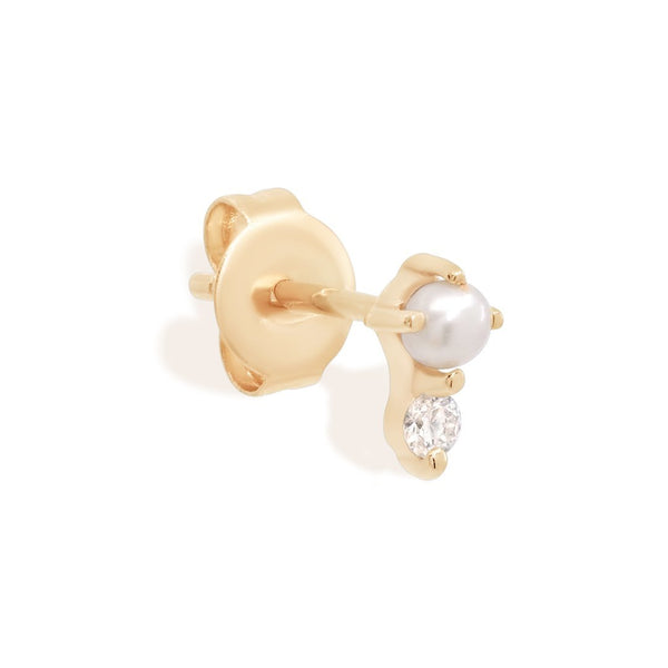 By Charlotte 14k Gold Light of the Moon Diamond Single Stud Earring