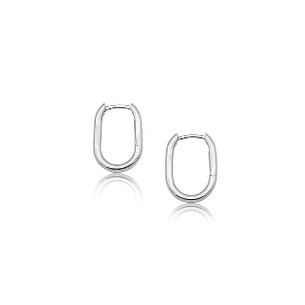 Linda Tahija Oval Hoop Earrings, Silver