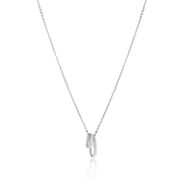 Linda Tahija Tiny Ellipse Necklace, Silver