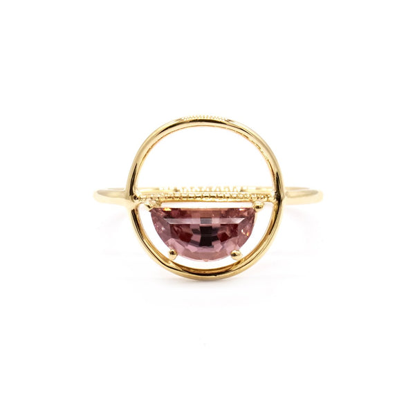 Natalie Marie Mica ring, Peach Zircon, gold