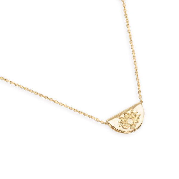 By Charlotte 14kt gold Mini Lotus Necklace