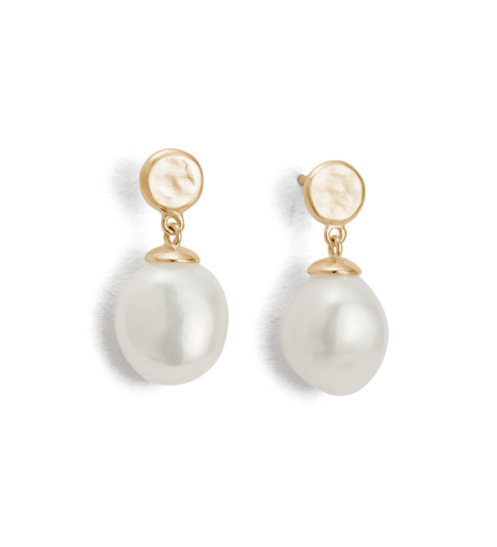 Kirstin Ash Moon Tide Pearl earrings, 9k Gold