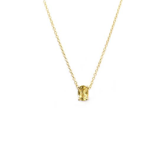 Natalie Marie Tiny Oval Necklace, Heliodor, Gold