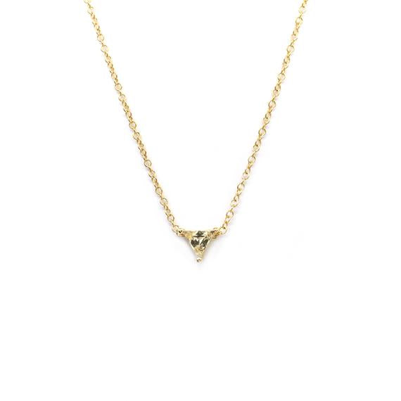 Natalie Marie Tiny Trillion Necklace, Heliodor, Gold