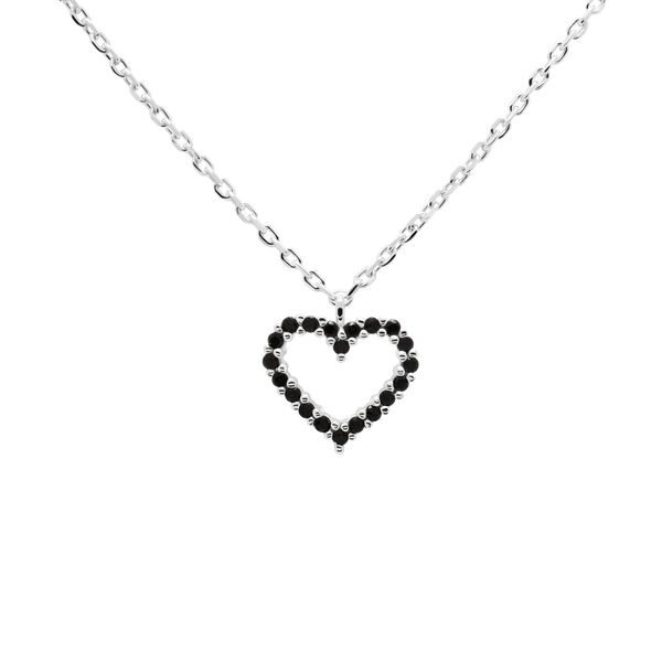PD Paola Black Heart Necklace, Silver