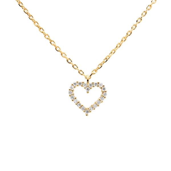 PD Paola White Heart Necklace, Gold
